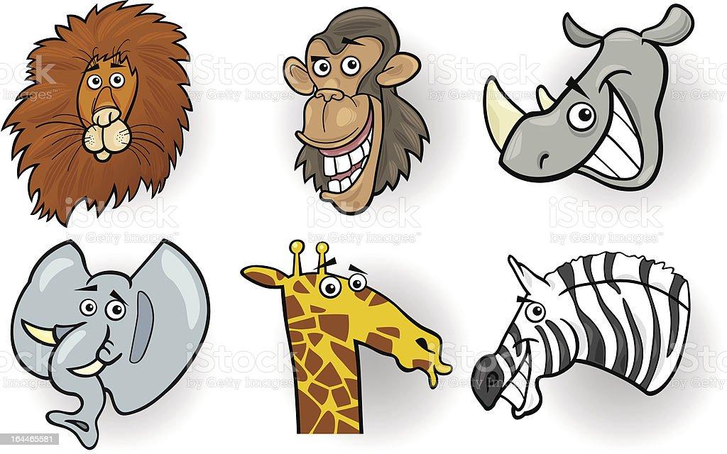 Cartoon wild animals heads set royalty-free stock vector art