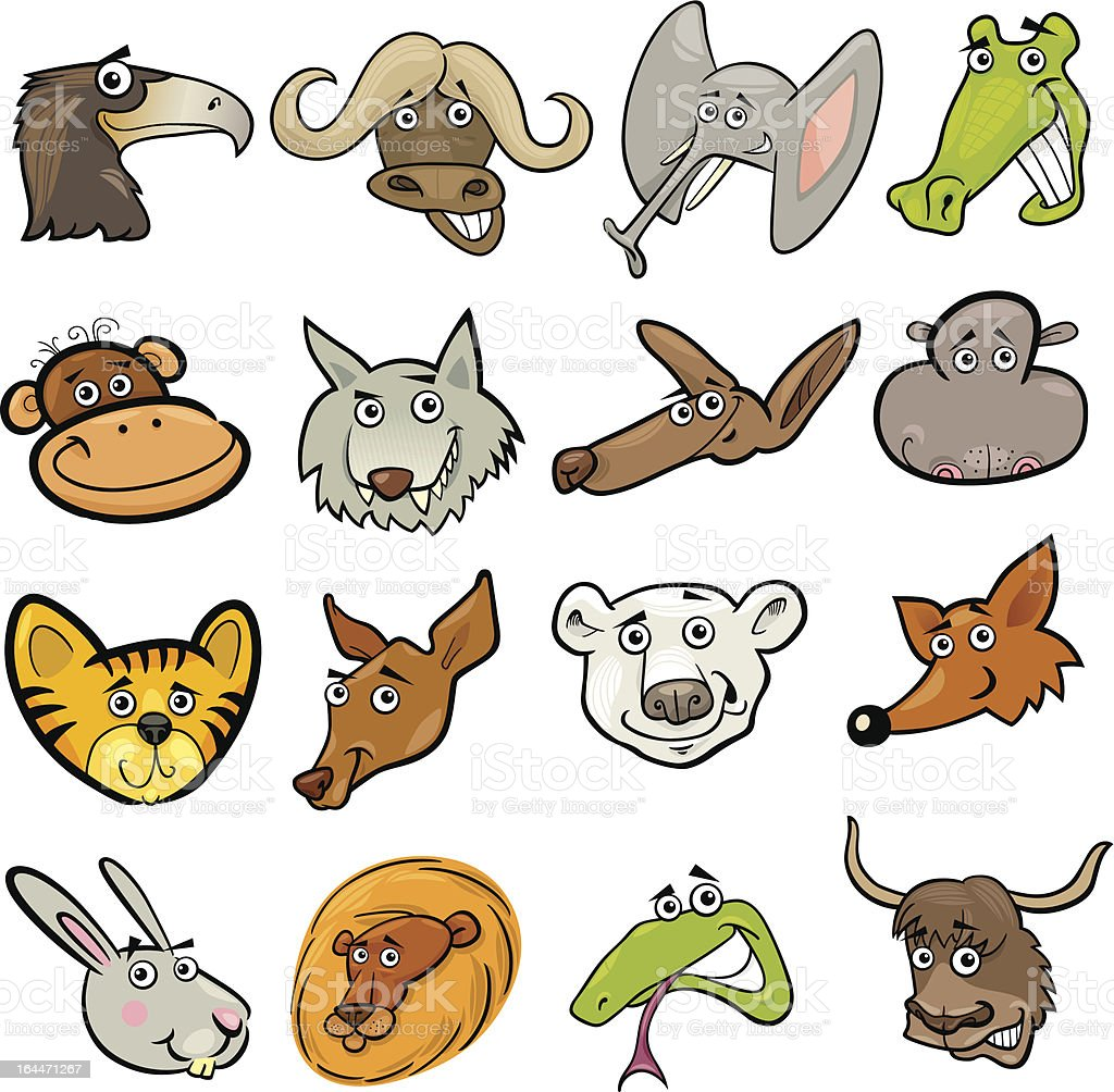 Cartoon wild animals heads set royalty-free cartoon wild animals heads set stock vector art & more images of african buffalo