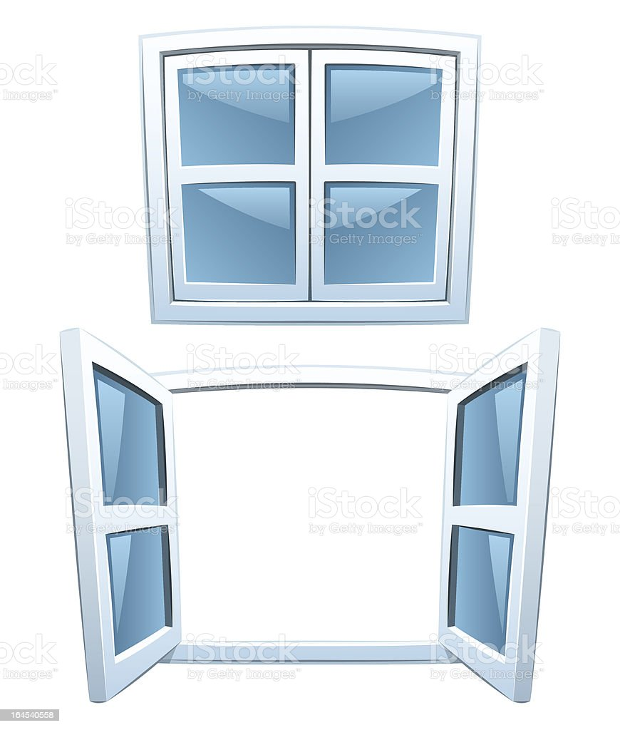 Cartoon windows vector art illustration