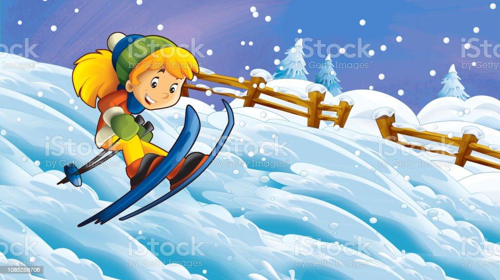 Cartoon winter nature scene with happy child girl skiing -...