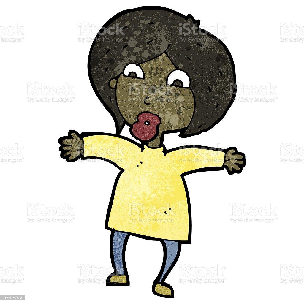 Mujer de historieta encogiéndose de hombros ilustración de mujer de historieta encogiéndose de hombros y más banco de imágenes de adulto libre de derechos