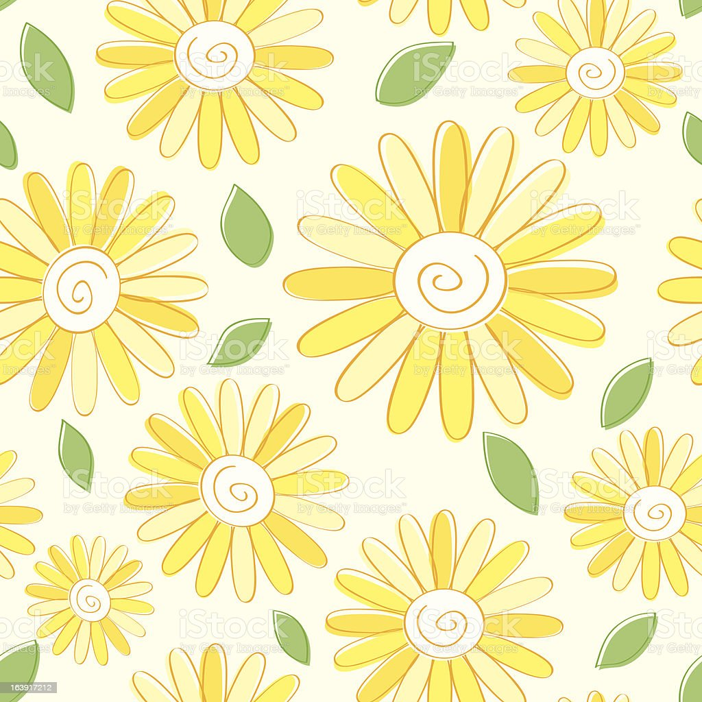 Cartoon yellow flower pattern with loose green leaves stock vector cartoon yellow flower pattern with loose green leaves royalty free cartoon yellow flower pattern with mightylinksfo