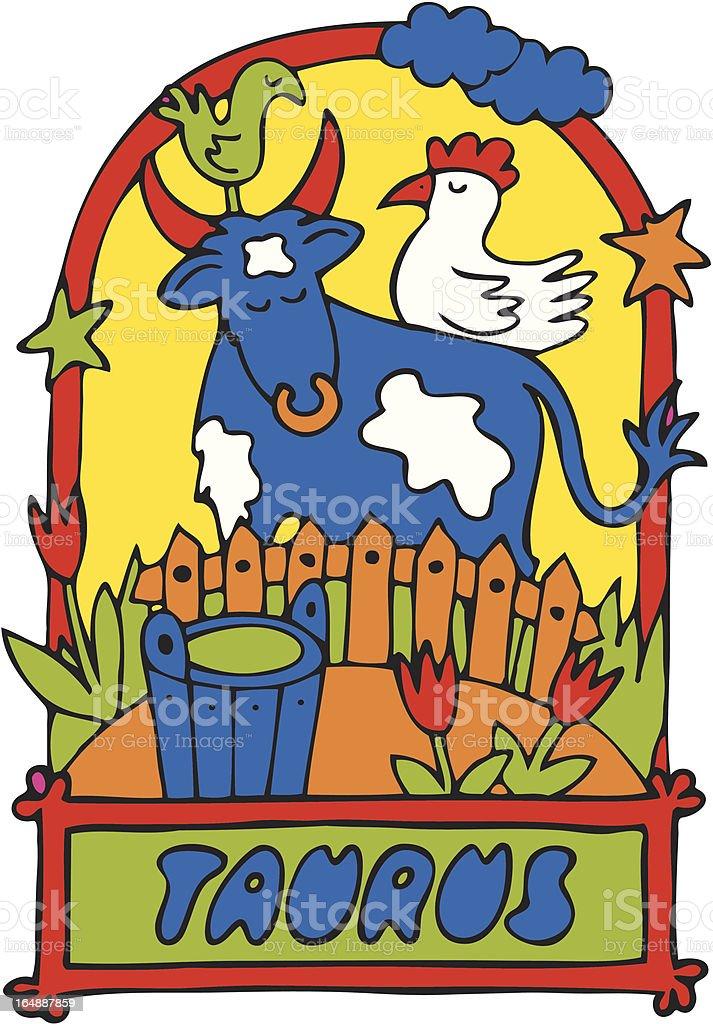 TAURUS - cartoon zodiac sign royalty-free stock vector art