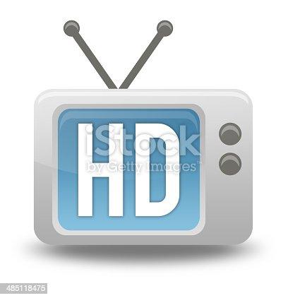 istock Cartoon-style TV Icon HD TV 485118475