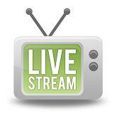 istock Cartoon-style TV Icon Live Stream 484427921