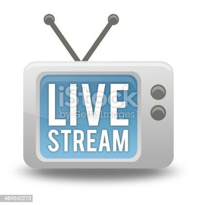 istock Cartoon-style TV Icon Live Stream 484542273