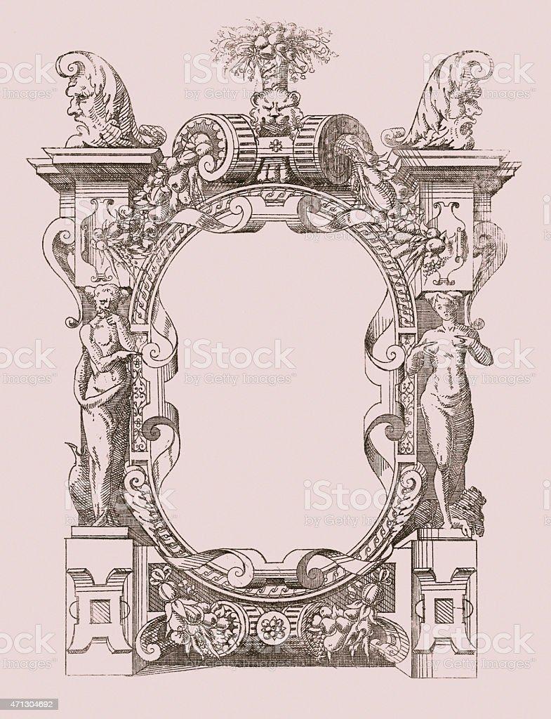 Cartouche engraving vector art illustration