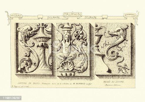 Vintage engraving of Carved stonework architectural details, Dolphin, Chateau de Blois and Musee du Louvre. Materiaux et Documents D'Architecture et de Sculpture, by Raguenet