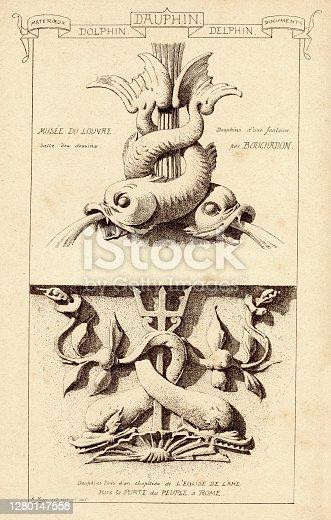 Vintage engraving of Carved stonework architectural details, Dolphin, Musee du Louvre. Materiaux et Documents D'Architecture et de Sculpture, by Raguenet