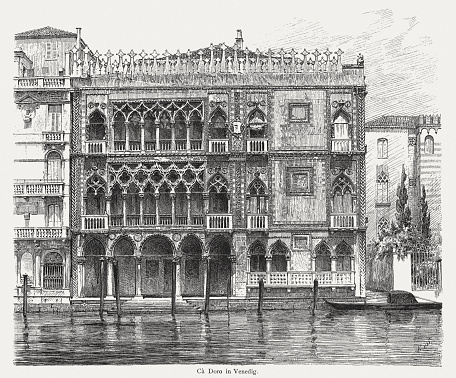 Casa d' Oro in Venice, Italy, wood engraving, published 1884
