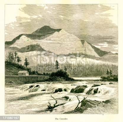 Cascades Rapids along Columbia River, between the U.S. states of Washington and Oregon. Published in Picturesque America or the Land We Live In (D. Appleton & Co., New York, 1872).