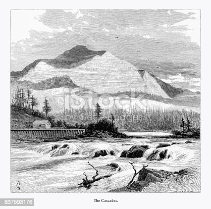 Very Rare, Beautifully Illustrated Antique Engraving of The Cascades, Washington, United States, American Victorian Engraving, 1872. Source: Original edition from my own archives. Copyright has expired on this artwork. Digitally restored.
