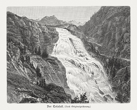 Cascata del Toce (Tosafall), Formazza, Piemont, Italy, woodcut, published 1897