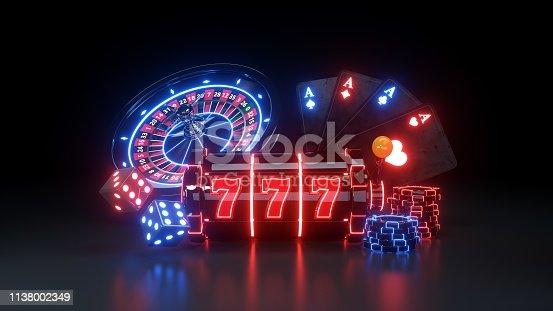 Casino Gambling Concept on The Black Background, 3D Illustration