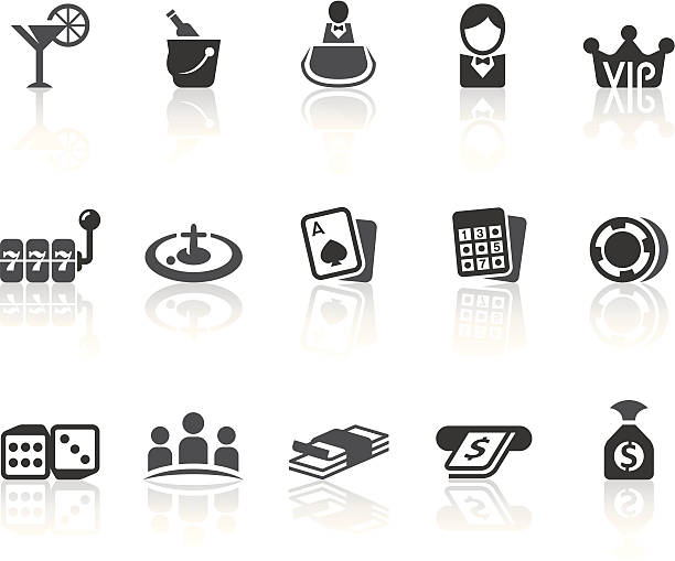 Casino Icons   Simple Black Series Casino features related vector icons for your design and application. cartable stock illustrations