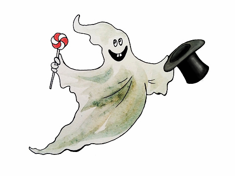 Caspers father, Funny halloween ghost, hand drawn watercolor illustration
