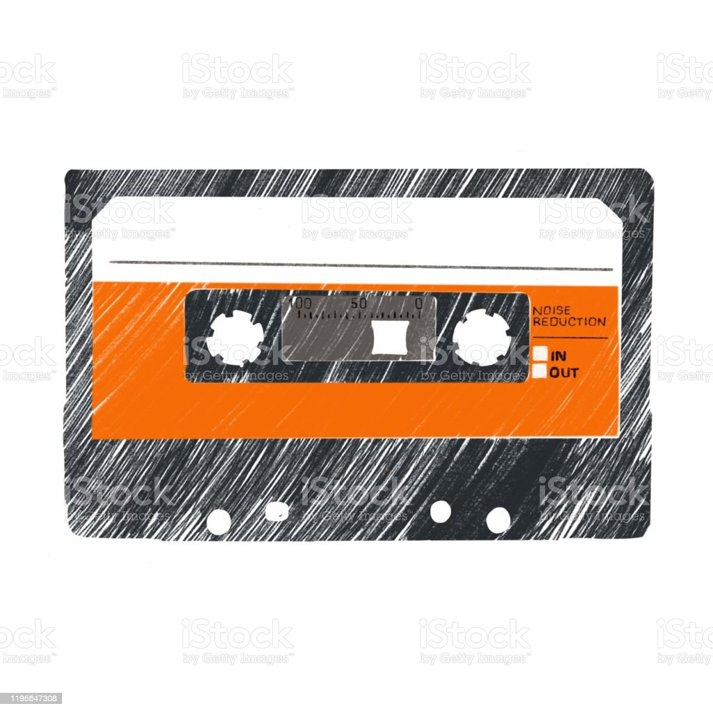 Cassette tape - Royalty-free 1980 stock illustration
