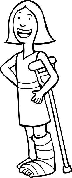 Cast and Crutch vector art illustration