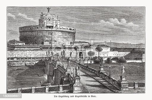 istock Castel Sant'Angelo, Rome, Italy, wood engraving, published in 1893 1306698927