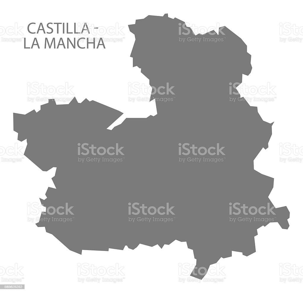 La Mancha Spain Map.Castilla La Mancha Spain Map Grey Stock Vector Art 585625252 Istock