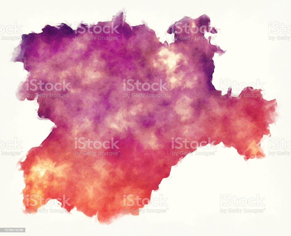 Mapa Castilla Y Leon En Blanco.Ilustracion De Mapa Acuarela De La Region Castilla Y Leon De