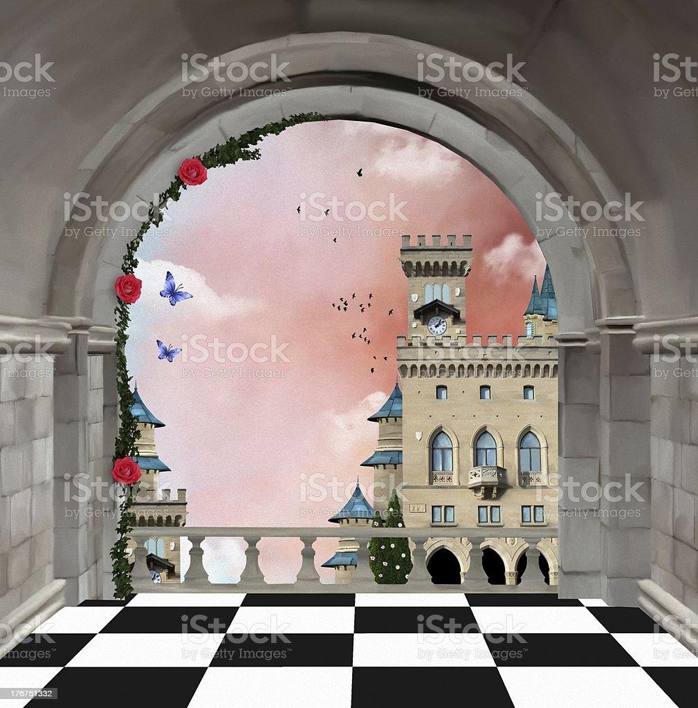 Castle balcony vector art illustration