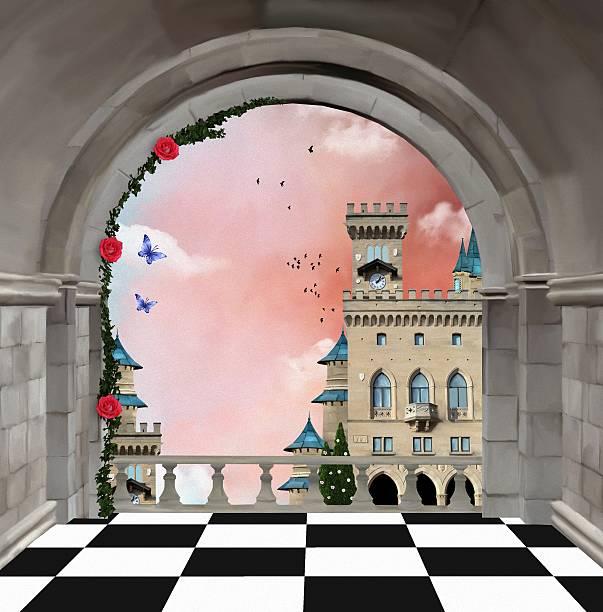 ilustrações de stock, clip art, desenhos animados e ícones de castelo de sacada - ivy building