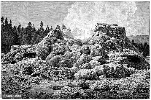 Illustration of a Castle Geyser is a cone geyser in the Upper Geyser Basin of Yellowstone National Park