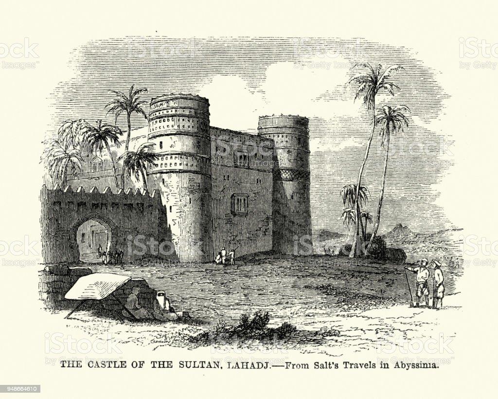 Castle of the Sultaun of Aden at Lahadj 19th Century vector art illustration