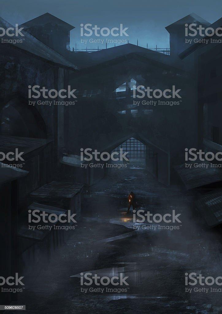 Castle view vector art illustration