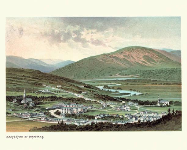 Castleton of Braemar, Aberdeenshire, Scotland, 19th Century vector art illustration