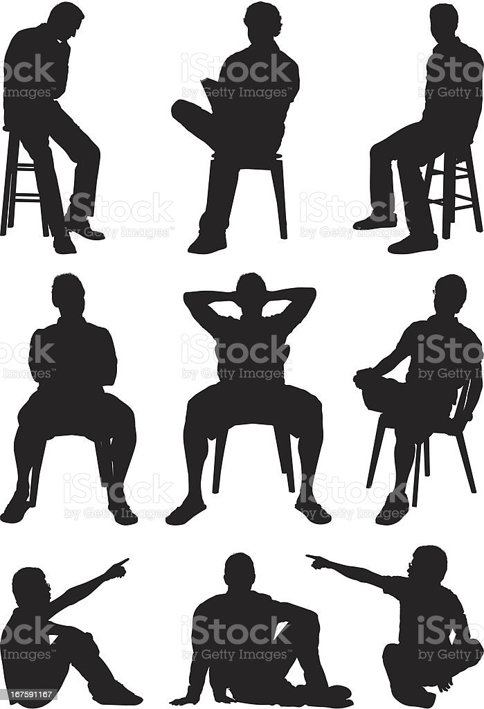 Casual men sitting silhouettes vector art illustration