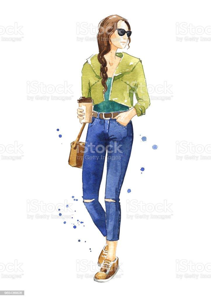 Casual street look, watercolor fashion illustration casual street look watercolor fashion illustration - stockowe grafiki wektorowe i więcej obrazów akwarela royalty-free