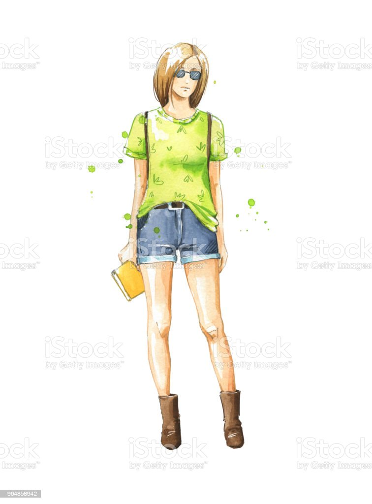 casual summer look, watercolor fashion illustration royalty-free casual summer look watercolor fashion illustration stock vector art & more images of adult