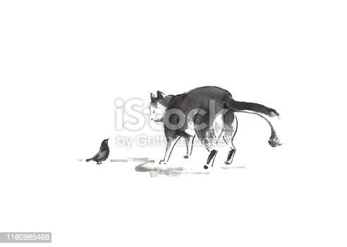 Cat and bird Japanese style original sumi-e ink painting. Great for greeting cards or texture design.