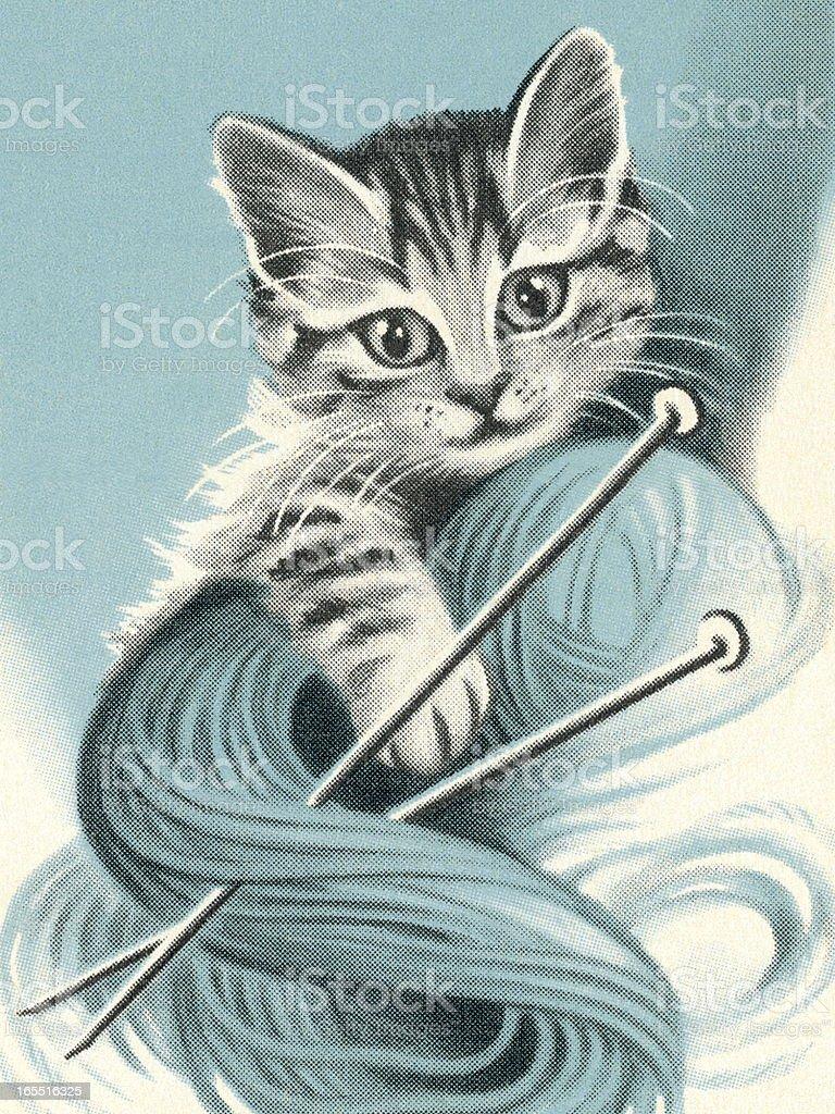 Cat and Yarn royalty-free stock vector art