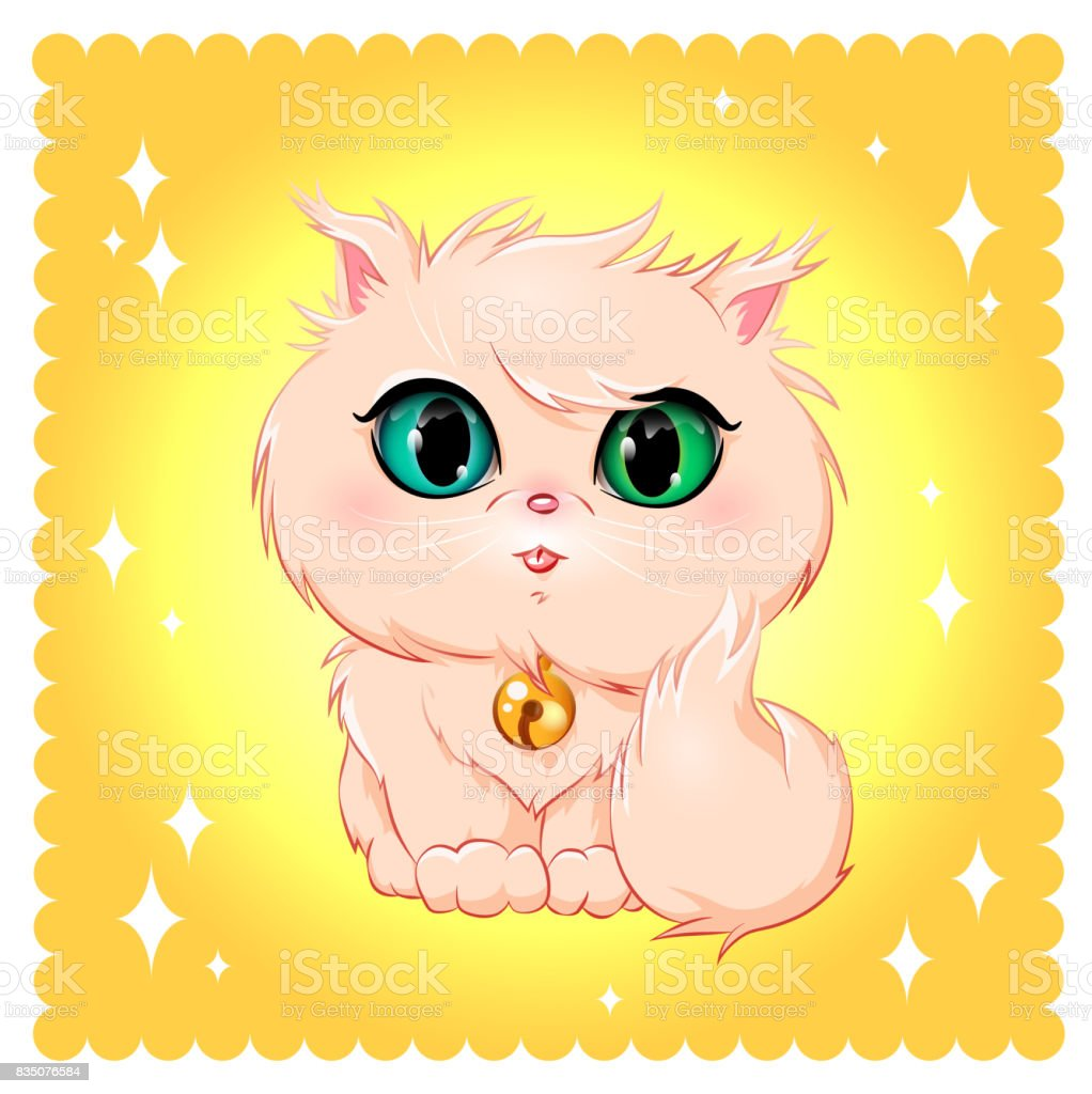 Vector image of a cute cat, unique character and unique style.