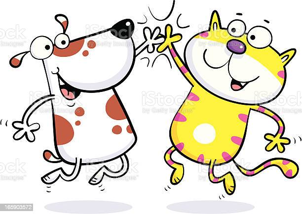 Cat dog high five illustration id165903572?b=1&k=6&m=165903572&s=612x612&h=vsqmodmygxdb1mgbwxzgev24ld7rsfgkntvnd5mbak0=