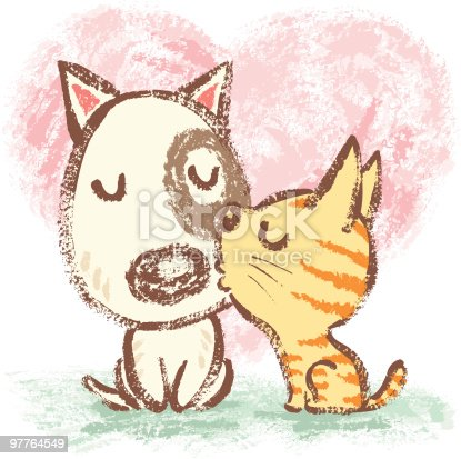 Cat is kissing dog