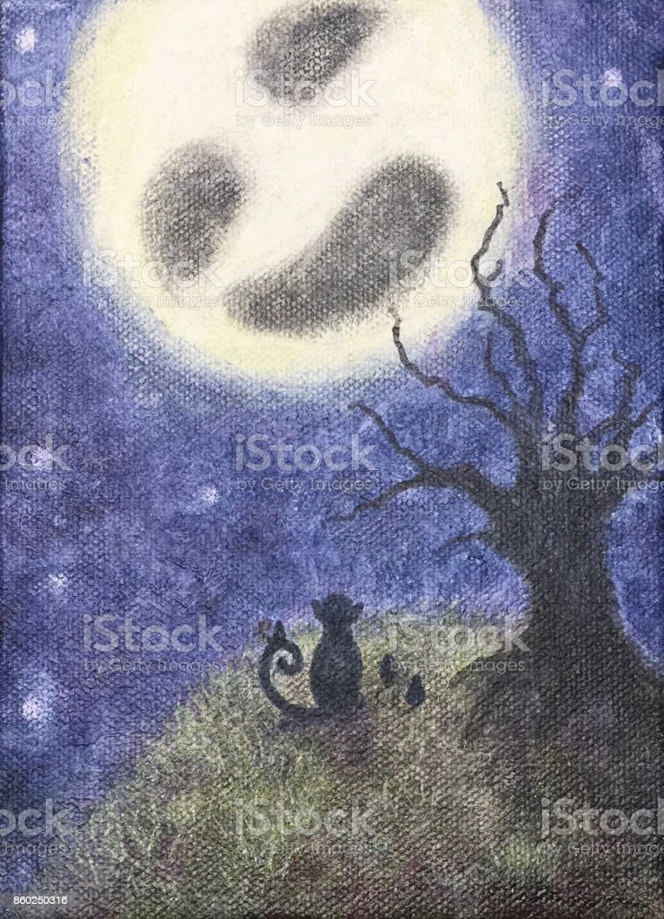 Cat, mice and the moon vector art illustration