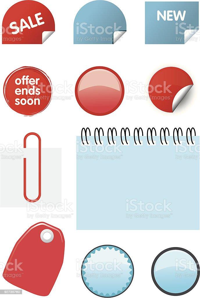 Catalogue price elements icon set  Circle stock vector