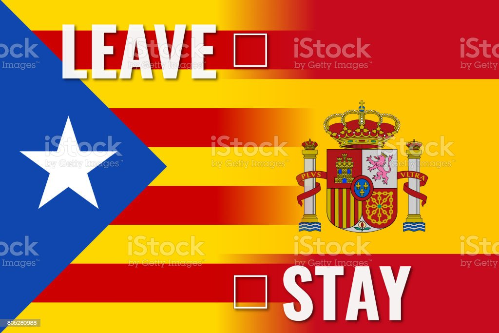 catalonia referendum leave stay concept vector art illustration