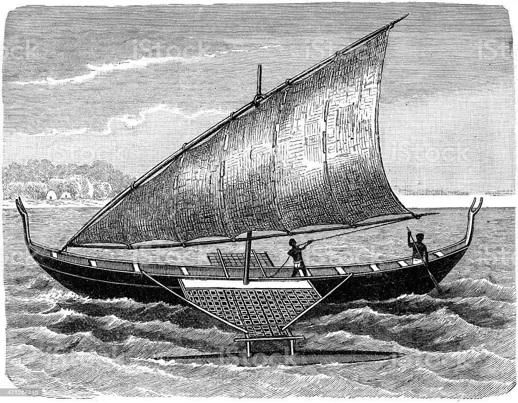 catamaran vector art illustration