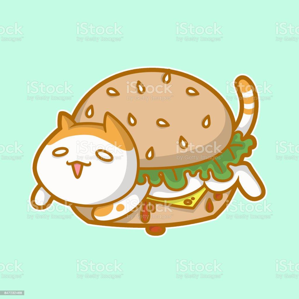 CatBurger vector art illustration
