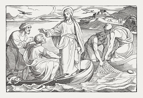 Catch of fish of Peter (Luke 5, 1-11), published 1850