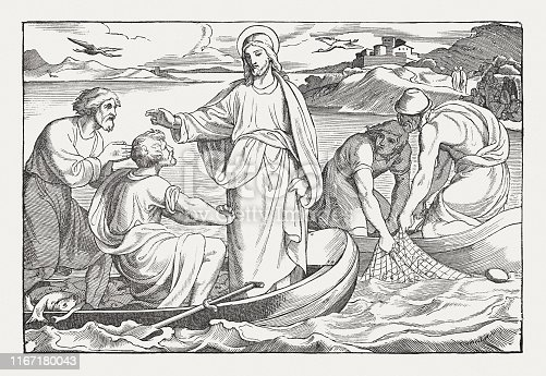 The catch of fish of Peter (Luke 5, 1-11). Wood engraving, published in 1850.