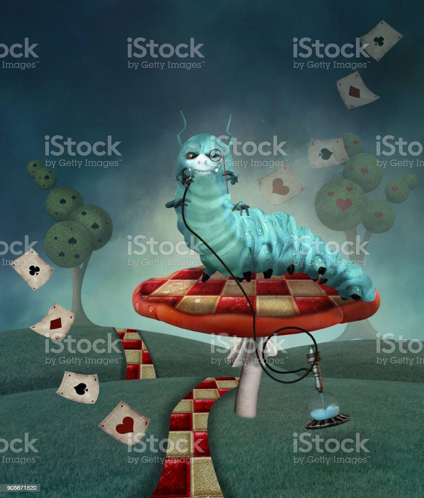 Caterpillar on a mushroom in a country landscape vector art illustration