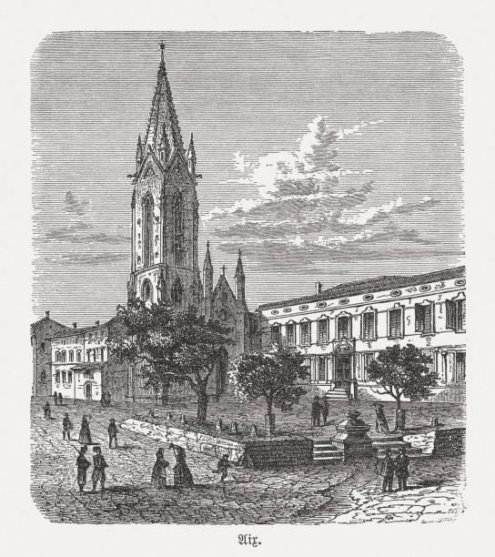 illustrations, cliparts, dessins animés et icônes de cathédrale d'aix-en-provence, france, gravure sur bois, publié en 1893 - aix en provence