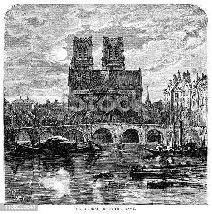 """View of the 12th century Cathedral of Notre-Dame in Paris, France, with the Seine River. From """"French Pictures: Drawn With Pen and Pencil"""" by the Rev. Samuel G. Green, D.D. Published by The Religious Tract Society, London, 1878."""