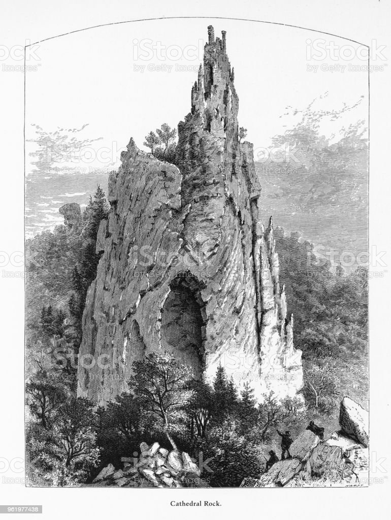 Cathedral Rock, Petersburg, West Virginia, United States, American Victorian Engraving, 1872 vector art illustration